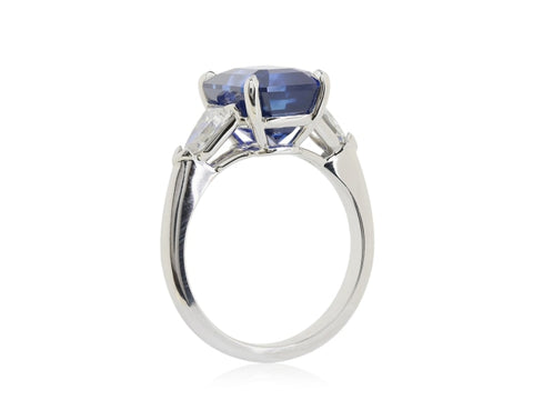 7.03ct Corn Flower Blue Emerald Cut Sapphire & Diamond 3-Stone Ring - JEWELRY Boston