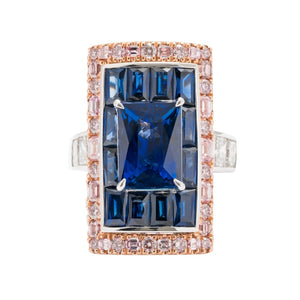 7.13 Carat Emerald Cut Sri Lanka Blue Sapphire And Pink Diamond Ring - Jewelry Boston