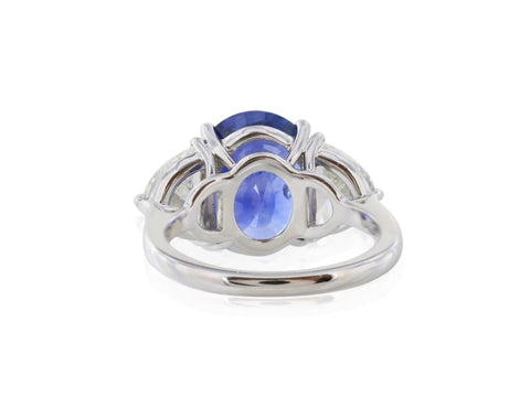 7.27 Carat Blue 3 Stone Sapphire Ring (Platinum) - Jewelry Boston