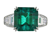 Load image into Gallery viewer, 7.28 Carat Emerald Cut Colombian Emerald 5 Stone Ring (Platinum) - Jewelry Boston