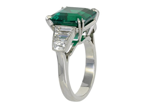 7.28 Carat Emerald Cut Colombian Emerald 5 Stone Ring (Platinum) - Jewelry Boston