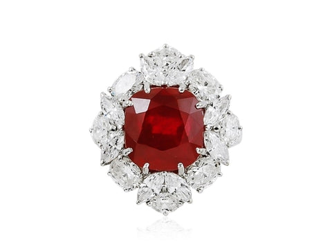7.33 Carat Ruby And Diamond Ring - Jewelry Boston