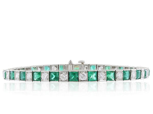7.37ct Oscar Heyman Emerald & Diamond Bracelet (Platinum) - JEWELRY Boston