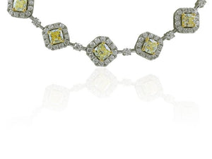 Colorless & Canary Diamond Necklace - Jewelry Boston