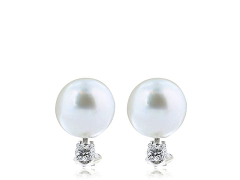 7.5-8Mm South Sea Pearl And Diamond Earrings (18K White Gold) - Jewelry Boston