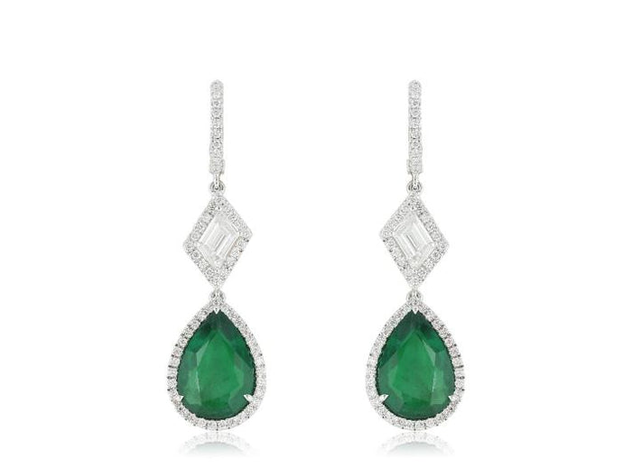 7.65CTW Pear Shape Emeralds and Diamond Drop Earrings - Boston