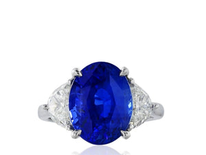 7.66 Carat Madagascar Sapphire 3 Stone Ring W/ Diamonds (Platinum) - Jewelry Boston