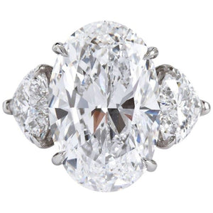 7.82 Carat Oval Cut 3 Stone Diamond Engagement Ring (Platinum) D / Flawless - Jewelry Boston