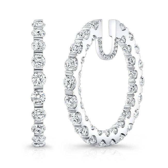 7.82ctw Round Diamond In/Out Hoop Earrings (White Gold) - Jewelry Designers Boston