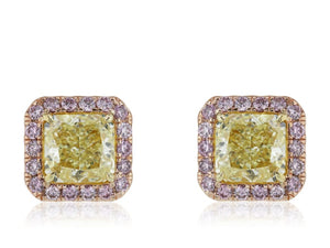 7.83 Carat Gia Certified Fancy Yellow And Argyle Pink Diamond Earrings - Jewelry Boston