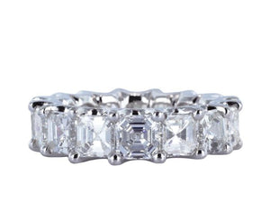 7.84 Carat Asscher Cut Diamond Eternity Band - Jewelry Boston