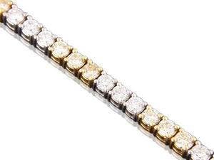 7.86 Carat Canary & Colorless Diamond Tennis Bracelet (18K White & Yellow Gold) - Jewelry Boston