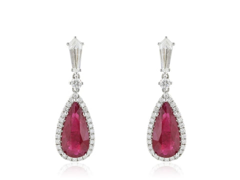 7.87 Carat Burma Ruby And Diamond Drop Earrings - Jewelry Boston