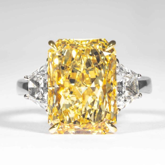 7.95 carat Fancy Yellow Radiant Cut Diamond 3-Stone Ring (GIA Certified) - ENGAGEMENT Boston