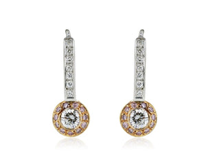 .70 Carat Round Brilliant And Pink Diamond Drop Earrings - Jewelry Boston