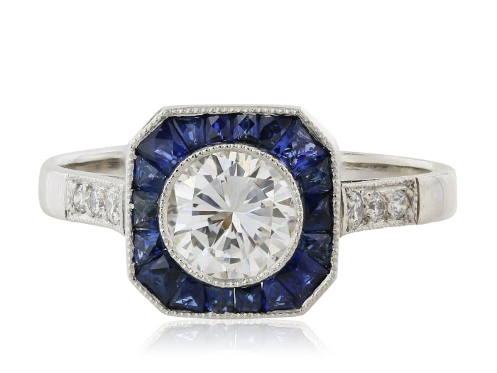 .70ct Art Deco Inspired Diamond & Sapphire Ring (White Gold F/VS1) - JEWELRY Boston