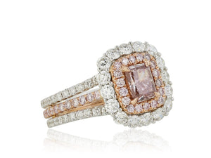 .71ct Pink-Brown Cushion Cut Diamond Ring (18k Two Tone) - JEWELRY Boston