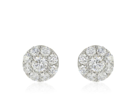 .75 Carat Diamond Flower Cluster Stud Earrings (14K White Gold) - Jewelry Boston