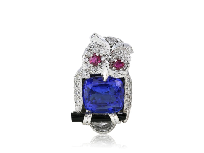 8.00ct Tanzanite & Diamond Owl Brooch (Platinum) - JEWELRY Boston