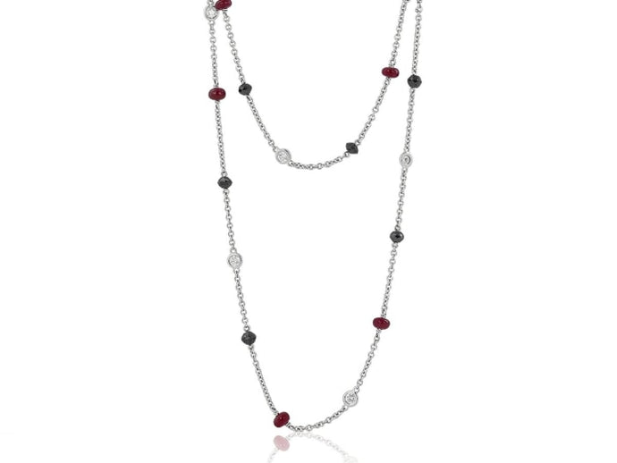 8.02 Carat Ruby And Diamond Chain Necklace (18K White Gold) - Jewelry Boston