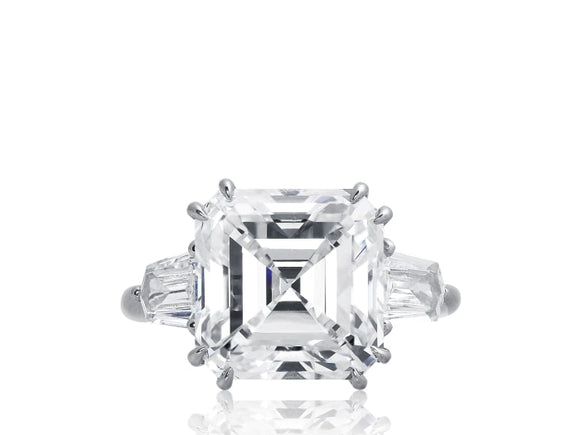 8.02 Ct G/vs1 Gia Asscher Cut Harry Winston Diamond Ring - Jewelry Boston