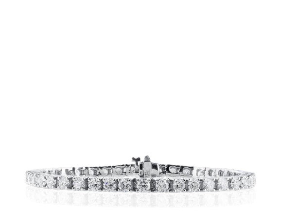 8.03 Carat Diamond Tennis Bracelet (18K White Gold) - Jewelry Boston