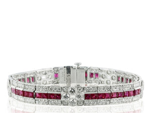 8.06 Carat Ruby And Diamond Bracelet (Platinum) - Jewelry Boston