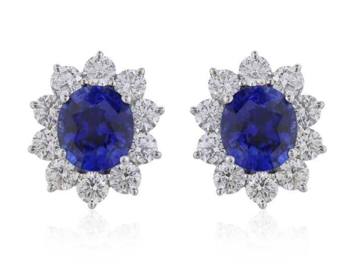 8.21 Carat Oval Cut Sapphire Earrings W/ Diamonds (18K White Gold) - Jewelry Boston