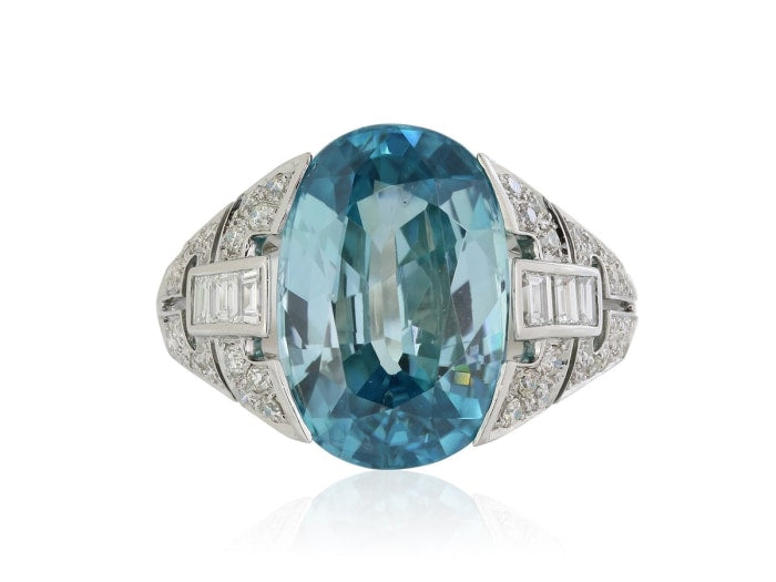 8.24 Carat Blue Zircon Art Deco Ring (Platinum) - Jewelry Boston