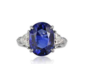 8.25 Carat Ceylon Blue 3 Stone Sapphire Ring (Platinum) - Jewelry Boston