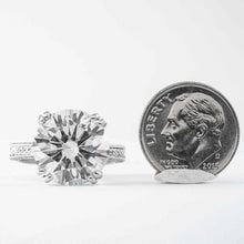 Load image into Gallery viewer, 8.30 carat J SI2 Round Brilliant Cut Diamond and Platinum Solitaire Ring - ENGAGEMENT Boston