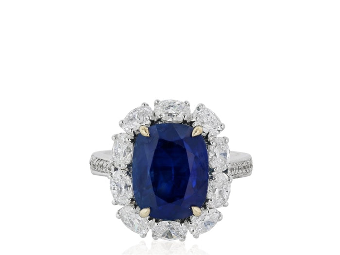 8.30t Burma Blue Sapphire & Diamond Ring (18 White & Rose Gold) - JEWELRY Boston