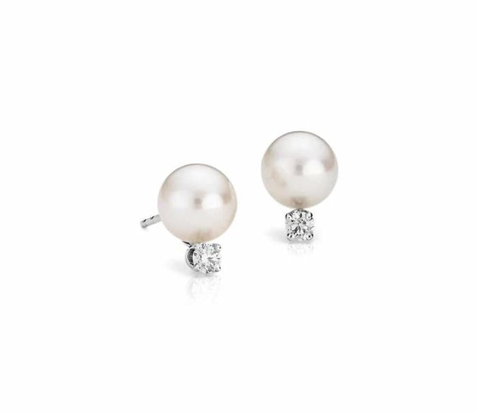 8.50-9mm Cultured Pearl Stud Earrings w/Diamonds WG - Boston