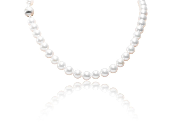 8-8.5mm Cultured Pearl Necklace (White Gold) - JEWELRY Boston