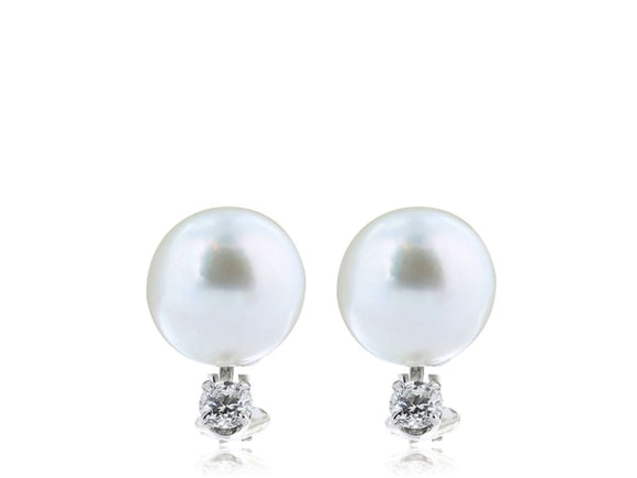 8-8.5Mm South Sea Pearl And Diamond Earrings (18K White Gold) - Jewelry Boston