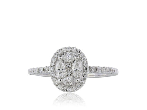 .80 Carat Oval Diamond Cluster Engagement Ring - Jewelry Boston