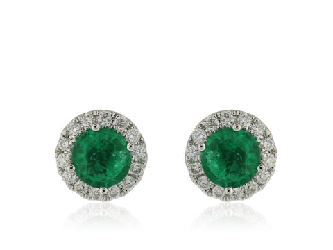 .83 Carat Emerald & Diamond Earrings (18K White Gold) - Jewelry Boston