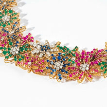 Load image into Gallery viewer, Ruby Sapphire Emerald and Diamond Yellow Gold Floral Motif Choker Necklace - Boston