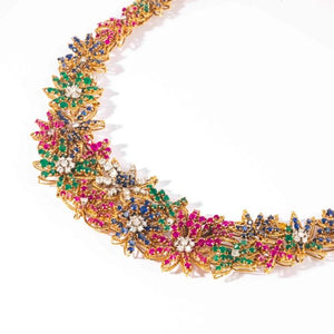Ruby Sapphire Emerald and Diamond Yellow Gold Floral Motif Choker Necklace - Boston