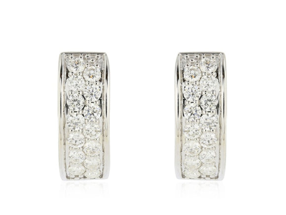 .88 Carat Pave Diamond Huggie Earrings - Jewelry Boston