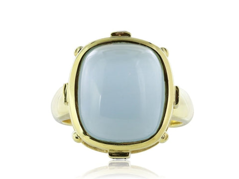 9.00 Carat Cabochon Aquamarine Ring W/ Diamonds (18K Yellow Gold) - Jewelry Boston