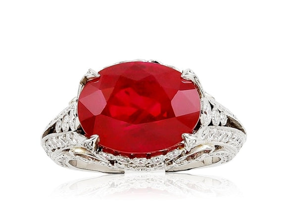 9.04 Carat Ruby And Diamond Ring - Jewelry Boston