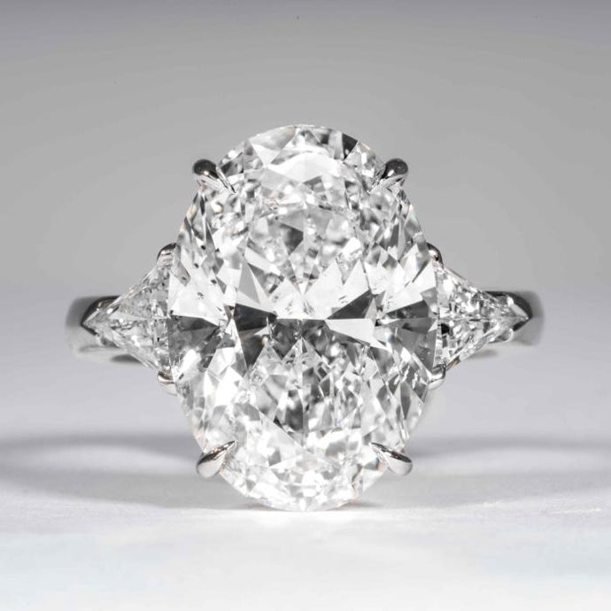9.08 carat F SI2 Oval Cut Diamond 3-Stone Platinum Ring (GIA Certified) - ENGAGEMENT Boston