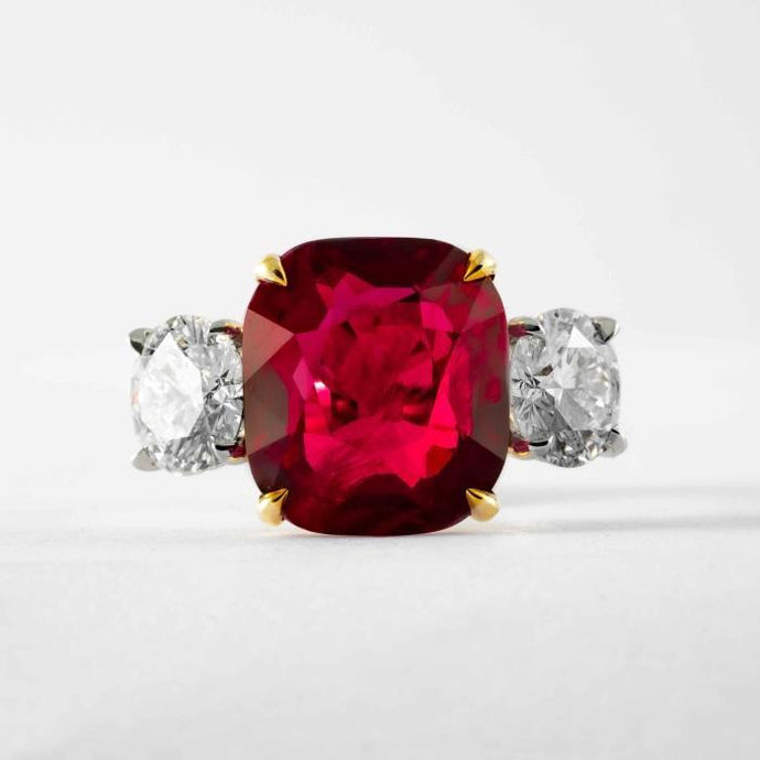 Platinum GIA Certified 9.13 Carat Ruby and Diamond Ring - JEWELRY Boston