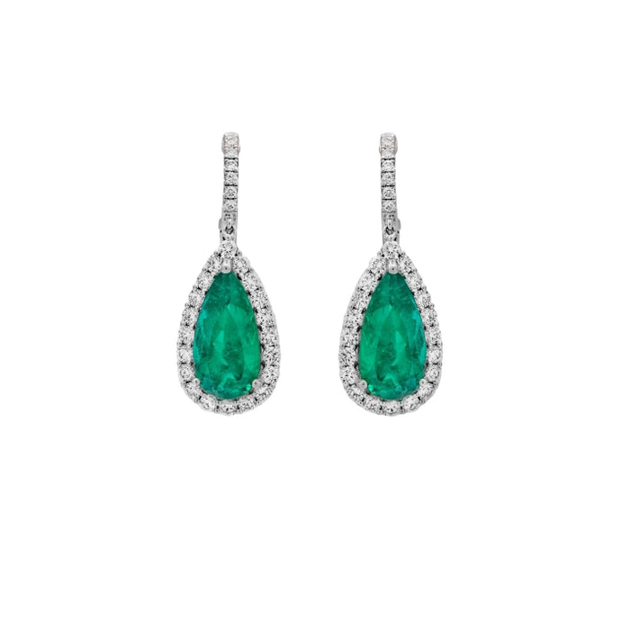 9.27ct Emerald & Diamond Drop Earrings (White Gold) - JEWELRY Boston