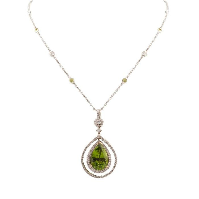 9.33ct Peridot Diamond Halo Pendant (18K White Gold & Platinum) - JEWELRY Boston