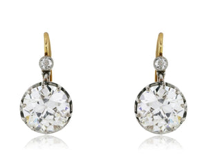 9.34 Carat Gia Certified Antique Diamond Drop Earrings/ Necklace - Jewelry Boston