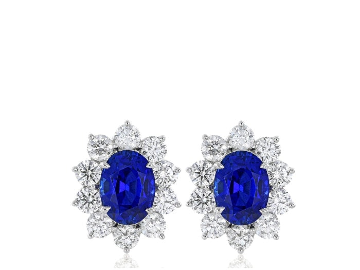 9.36 Carat Oval Cut Ceylon Sapphire Earrings W/ Diamonds (Platinum) - Jewelry Boston