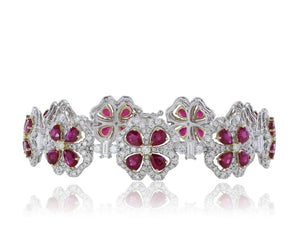 9.40 Carat Ruby And Diamond Bracelet (18K White Gold) - Jewelry Boston