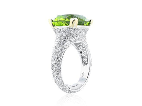 9.56 Carat Cusion Cut Peridot And Diamond Ring (18K White Gold) - Jewelry Boston